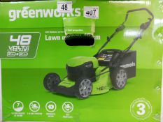 1 BOXED GREENWORKS 48V CORDLESS 46CM SELF PROPELLED LAWN MOWER RRP £429.99