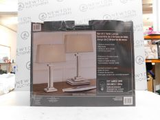 1 BOXED BRIDGEPORT DESIGNS POLISHED CHROME TABLE LAMPS RRP £79