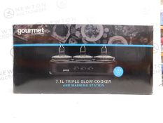 1 BOXED SENSIOHOME GOURMET TRIPLE SLOW COOKER WITH WARMING STATION RRP £89.99
