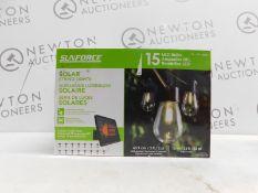 1 SUNFORCE 15 LED BULBS 10M SOLAR STRING LIGHTS RRP £49.99
