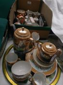 Japanese brown and blue lustre part coffee service and a mixed lot of oriental table pieces etc.