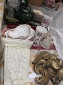 Plaster wall sconce, brass style child's head wall ornament and 2 trays of misc. incl.