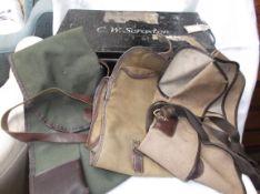 Black painted Deed Box and 3 canvas gun slings