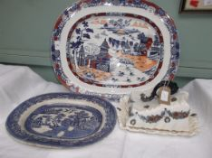 Large Oriental pagoda willow patterned meat plate inset gravy well decorated vivid colours of iron