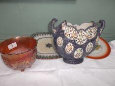 King George V Coronation plate, decorative blue ground vase, copper lustre bowl etc.
