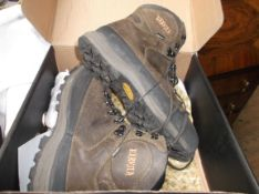 As new pair of Harkita brown leather hiking boots (Size 10)