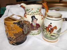 Crown Devon Fielding hunting scene water jug with fox handle and 2 musical ale mugs each depicting