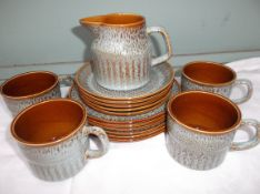 Part green and brown Aynsley stoneware coffee set