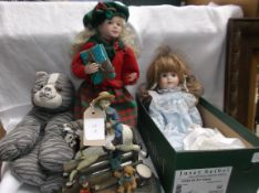 Porcelain pot head doll fixed eyes in blue pinafore dress and another pot head freckled face doll