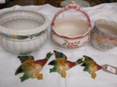 3 graduated Parkside mallard duck wall ornaments and 3 bulb bowls