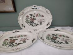 3 white ground and green coloured floral decorative Wedgwood oval mandarin patterned meat plates