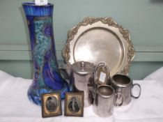 Decorative Studio glass cylindrical blue and gilt flower vase (repaired) and a 3 piece plated