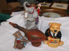 Ringtons bear tea caddy, smaller bear honey ornament,
