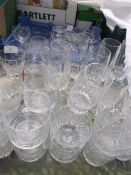 2 lots of cut glass and other drinking glasses