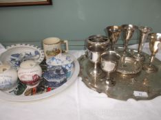 Selection of plateware, goblets etc on circular tray and misc.