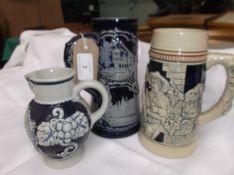 Blue and white stoneware German ale mug,