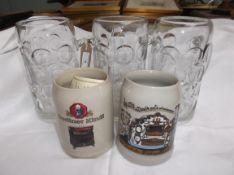 2 stoneware German ale mugs and 3 pint glass German dimple glass German ale tankards