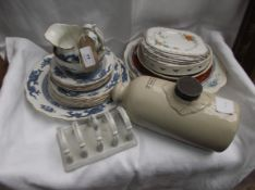Selection of part Booth's blue and white 'Dragon' plates and matching sugar basin and milk jug,