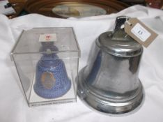 Heavy metal ships bell and a blue Danish porcelain presentation bell in presentation box