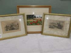 Gilt framed poppy landscape print and a pair of gilt framed antique prints, one of grouse shooting,