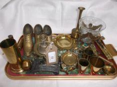 Tray of miniature brass items