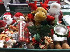Large box of small Christmas decorations incl. felt toys, Christmas tree hangers etc.