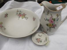 3 piece white ground Upper Handley ware toilet set decorated multi-coloured roses