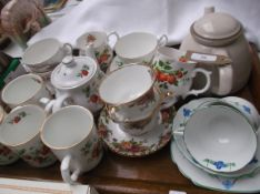 Mixed crockery incl. Sadler strawberry coffee mugs, Royal Albert Old Country Rose tea cups etc.