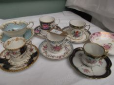 Collection of 6 porcelain coffee and tea cups from various factories incl.