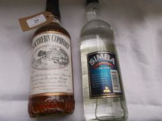 Bottle of Southern Comfort (70cl) and a bottle of Simba full strength cane spirit (750ml)