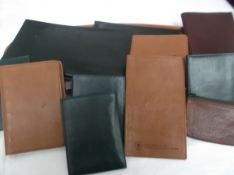 Selection of leather wallets, notebook holders etc.