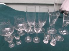 Second tray of Swedish drinking glasses incl. brandy balloons, liqueurs, tots, ales etc.