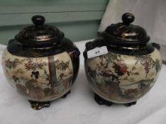 Pair of Oriental cobalt blue and gilt ground pot pourri lidded vases decorated Geisha girls