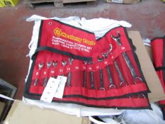 Heshang Tools 12 Piece chrome vanadium steel combination spanner set, new in carry roll.