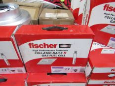 Box of 2x Fischer collated nails and gas fuel cells, new and boxed.