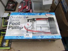 Streetwize double barrel foot pump, unchecked and boxed.