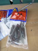 5x Packs of 12 Rawl Plug brown brickwork fixings, new and packaged.
