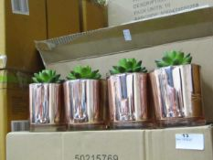 Set of 4 Aftificial Rubber Plants in Copper Pots.New & Boxed