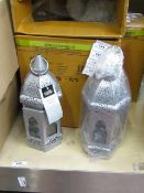 Set of 2 Silver Moroccan Lanterns.Ideal for use with Candles. New & Boxed