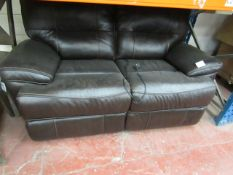 Brown leather electric 2 seater reclinig sofa with USB port, tested working, a few scuffs but