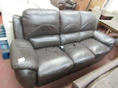La Z Boy 3 seater electric reclining sofa, tested working one of the seats has discoloration on it