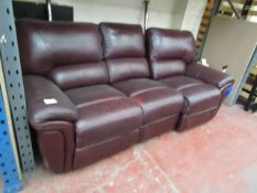 La-Z-Boy ox Blood 3 seater electric reclining sofa, no power supply to check the mechanism is