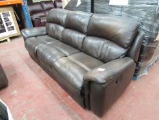 Polaski 3 seater manual reclining Brown leather sofa, both pop ups are working, one seat show