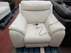 Cream Leather Electric reclining armchair, mechanism is working