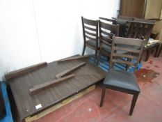 7 piece Dining Set, Complete apart from bolts for legs, The are a few scuffs but no major damage.
