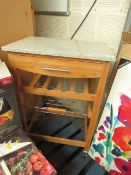 Kitchen Trolley/Butchers Block with Marble Top, Drawer, Veg Tray & Wine rack. New