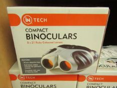 In Tech Compact 8 x 21 Ruby Coloured Lenses Compact Binoculars complete with carrycase & Cleaning