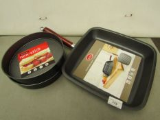 "3 Items Being a Griddle Pan (new with Tags) & 2 x 8"" Cake Tins (new with tags)"