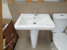Verso Cloakroom basin set that includes a 550mm sink with full pedestal and a Mono Block Sink tap
