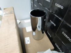 Cosmic stainless steel brush holder, new and boxed.